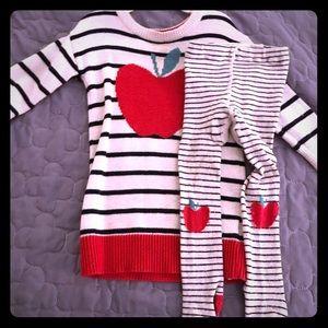 12-18 mo Gap apple dress & tights